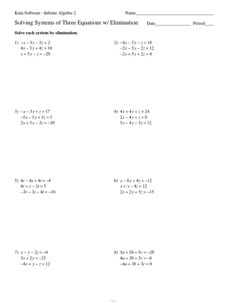 Worksheets Solving Systems Of Equations By Elimination Worksheet systems of three equations elimination algebra