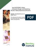 WaterDistributionDesignAndModeling V8i SS3 SI QandA