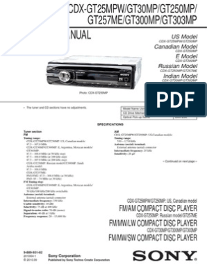 Sony cdx-gt300mp service manual | Electrical Connector