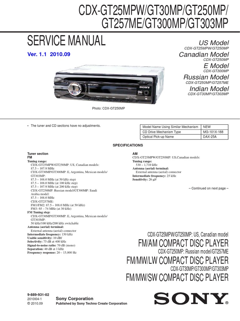 1508835319 sony cdx gt300mp service manual sony xplod cdx gt25mpw wiring harness at crackthecode.co