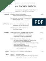 2014 megan rachel tunon resume