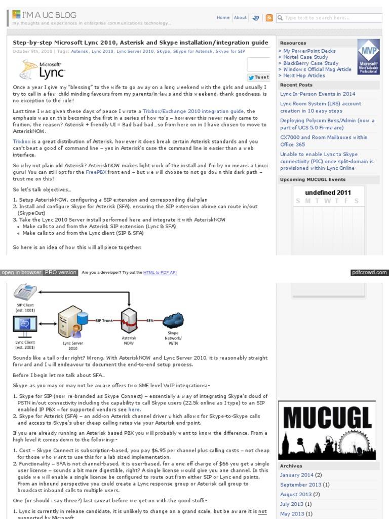 Microsoft Lync 2010 Asterisk   Session Initiation Protocol   Hyper V