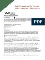 Release HRDs Ruki Fernando and Fr. Praveen Form Sri Lankan Police Custody - Observatory