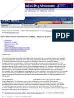 FDA Advise on Good Manufacturing Practices (GMP) _ Quality Systems (QS) Regul