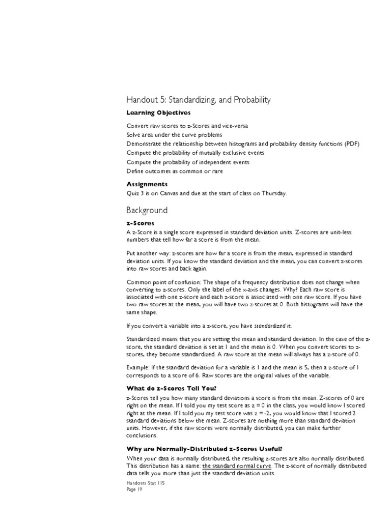 With The Ti84 Calculator Handout 5 Stat 115 Standard Score Normal  Distribution