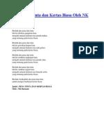 Puisi Pena Tinta Dan Kertas Biasa Oleh NK Bustami