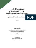 Vida Cotidiana y Sociedad Local. Subjetividad en La Acci n Local. Aportes a La Teor a Del Desarrollo -Libre 3 .2