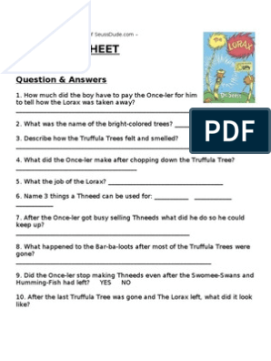 Dr Seuss The Lorax Worksheet Lesson Plan
