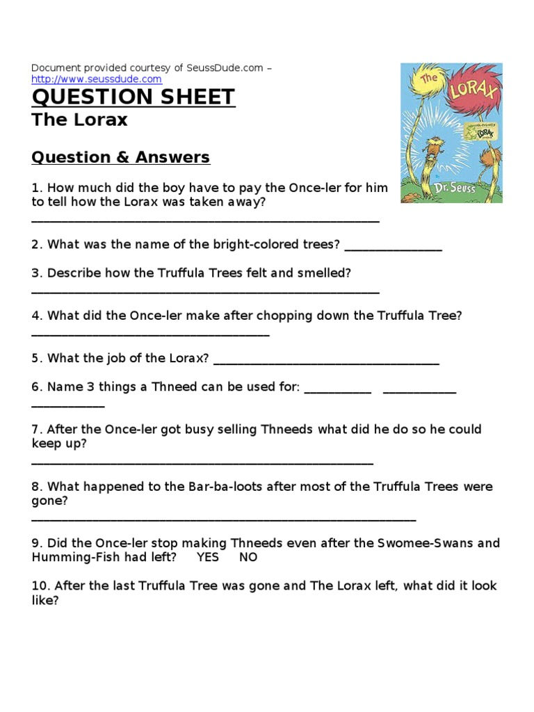 Printables Lorax Worksheets the lorax by dr seuss worksheet answers davezan lesson plan
