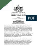 Bill Shorten Speech - Deregulation