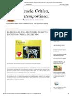 Escuela crítica contemporánea_ EL PRONALES, UNA PROPUESTA DE LECTO-ESCRITURA CRITICA DEL MUNDO