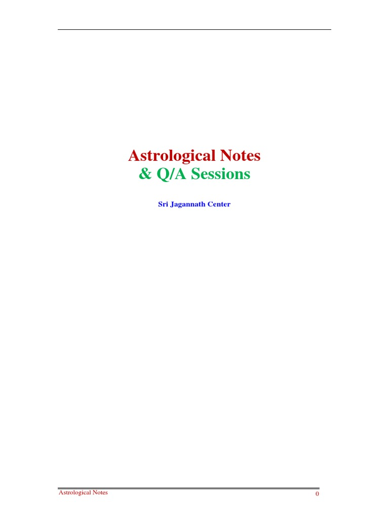Astrological Notes and QA Sessions - SJC | Planets In