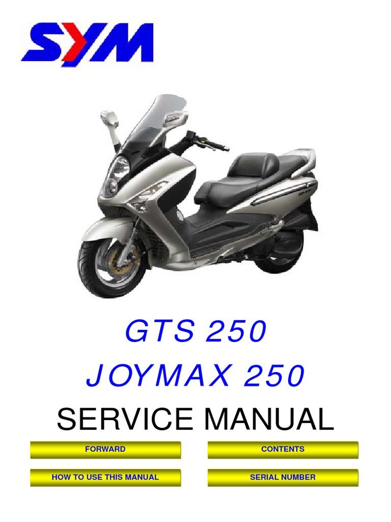 sym joymax gts rv 250 service manual carburetor internal rh scribd com SYM Jet 4 Start sym jet 4 50 service manual