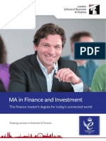 MA in Finance and Investment Factsheet