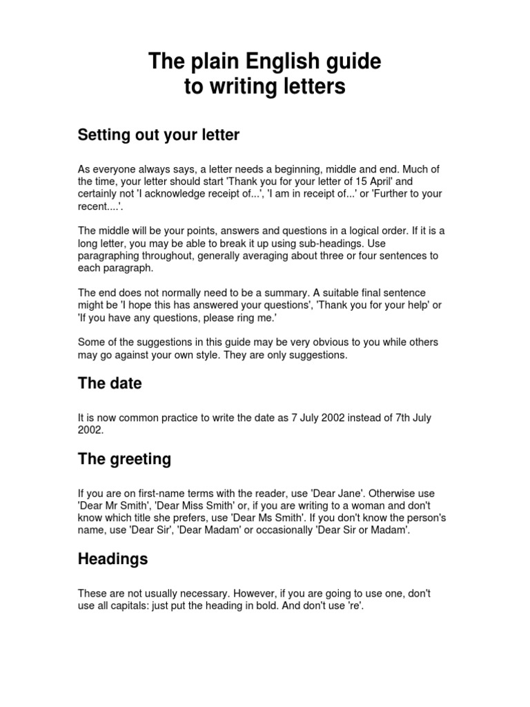 Plain English Guide To Writing Letters 126 Pdf Communication