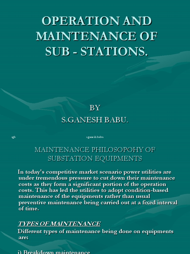 Operation and Maintenance of Sub - Stations Revised 030909 ...