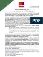 2Dialogue Entre Jeunes Et Police, Communique CNAJEP_030909