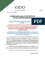 COMUNICADO SOBRE EL PROYECTO DE LEY DE JUSTICIA GRATUITA