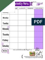 Weekly Menu Plan Printable- April Theme