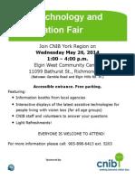 CNIB Tech Fair 2014 Flyer