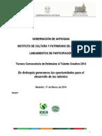 Convocatoria Estimulos Talento Creativo 2014 Lineamientos Participacion
