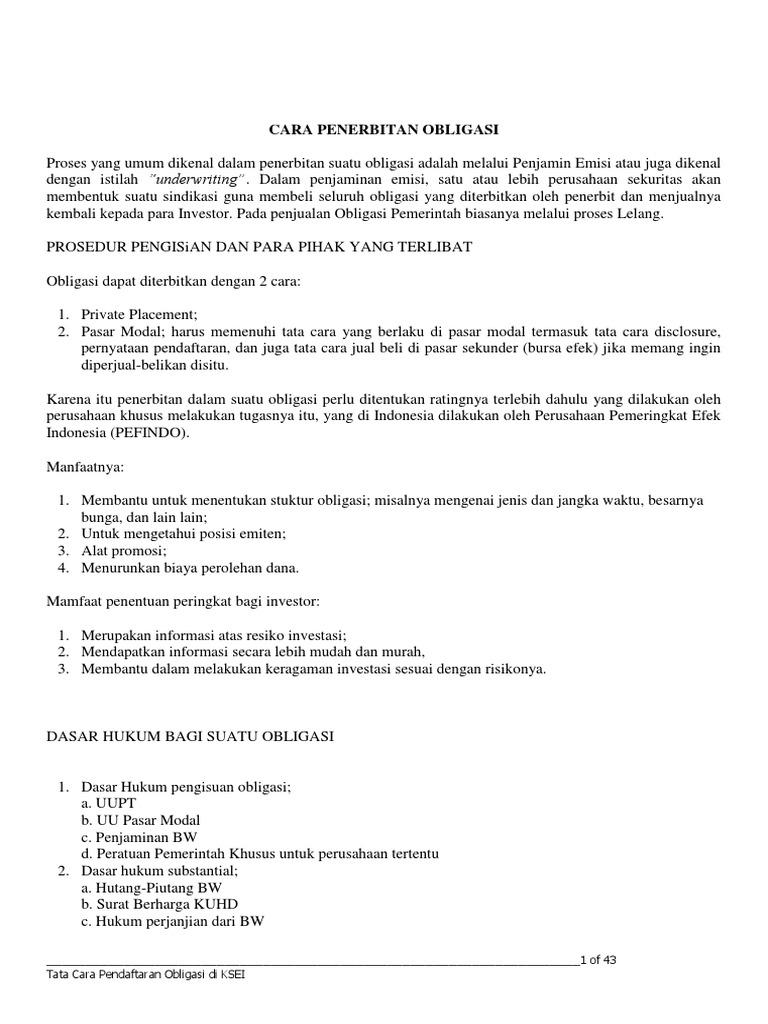 Penerbitan Dan Pendaftaran Obligasi