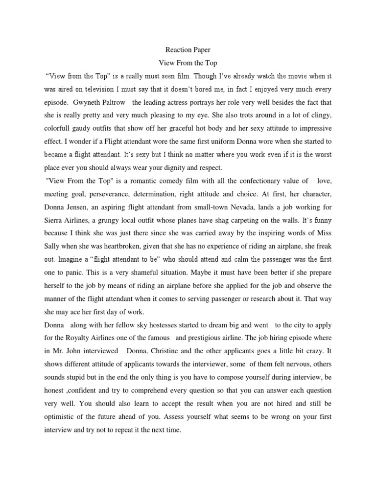 FREE Reaction Paper - The Core Essay