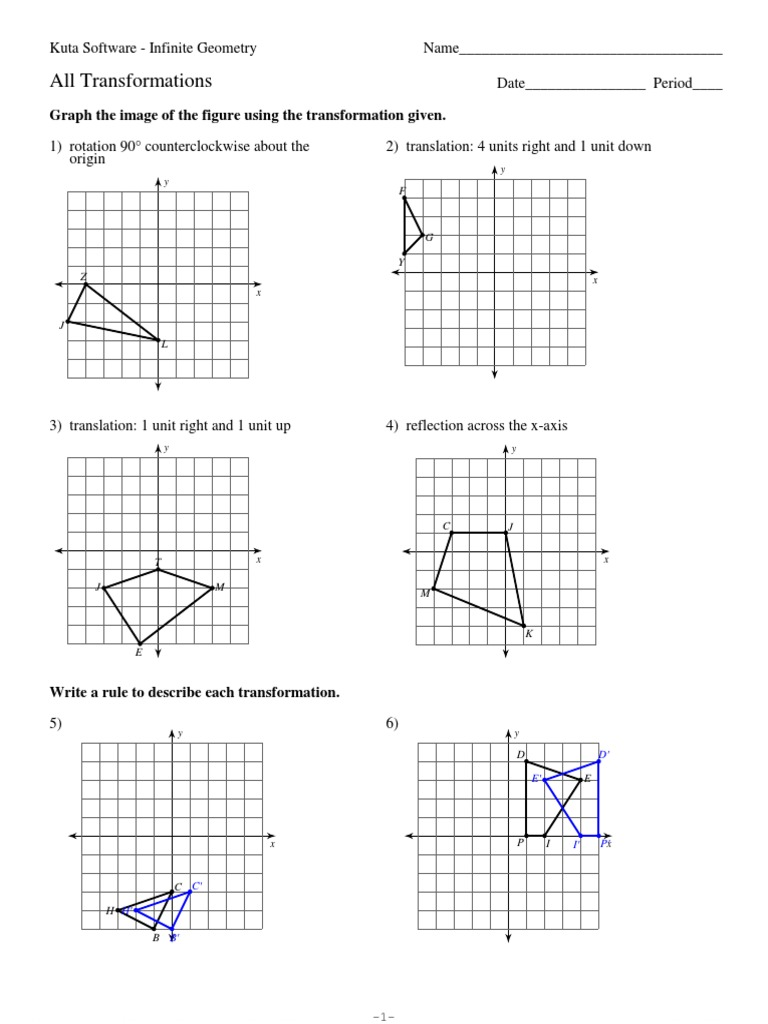 12 All Transformations Cartesian Coordinate System – Kuta Worksheets