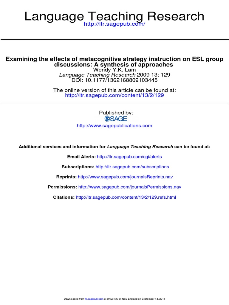 Examining The Effect Of Metacognitive Strategy Instruction On Esl