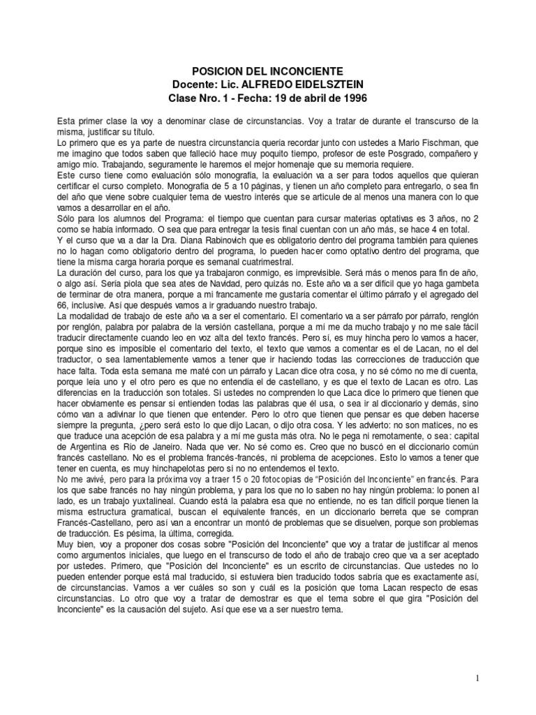 162863125 Alfredo Eidelsztein Posicion Del Inconsciente