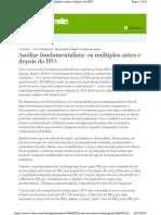 Análise fundamentalista - multiplos antes e depois do IPO