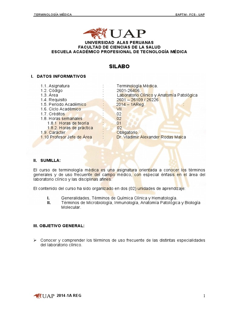 Silabo Terminologia Medica 2014 - Corregido