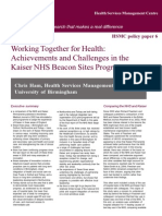 Policy Paper 6 Working Together for Health:Achievements and Challenges in theKaiser NHS Beacon Sites Programme
