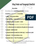 descriptive writing poster and paragraph checklist