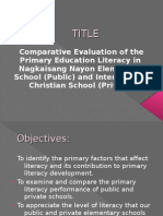 Comparative Evaluation of the Primary Education Literacy