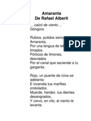 Amaranta De Rafael Alberti