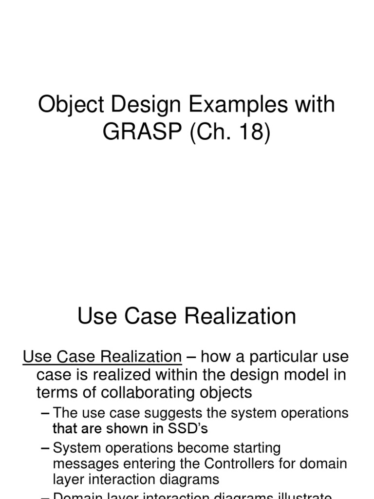 Object Design Examples With GRASP   Use Case   Software ...