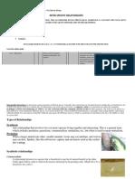 Worksheet for Inter-Specific relationships