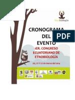 Cronograma del Primer Congreso Ecuatoriano de Etnobiología