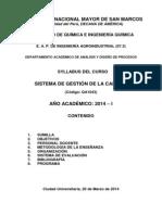 """SYLABUS DE  """"SISTEMA DE GESTION DE LA CALIDAD"""""""
