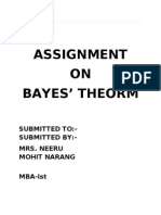 Assignment on Bayes' Theorm
