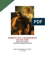 Homilía en la Solemnidad de San José. Esposo de la Virgen y Patrono de la Iglesia Universal