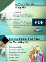 Factors Affecting Marketing Mix