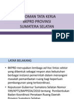Pedoman Tata Kerja  BKPRD Provinsi Sumsel
