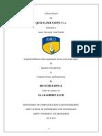 QUIZ GAME Report Amity University