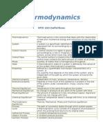 Thermodynamics Definitions