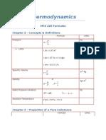 Thermodynamic Formulas