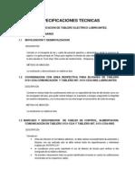Especificaciones Tecnicas Translado de Tablero