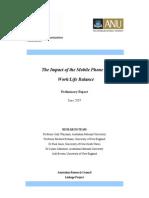 Report on Mobiles and Work Life Balance