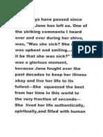 Eulogy for Jane at the Shloshim  --Peninah Rabin